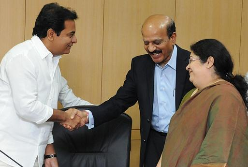 Chairman NASSCOM B. V. R. Mohan Reddy is greeted by Minister for IT & Panchayat Raj K. T. Rama Rao before exchanging documents to enhance Engineering Ecosystem in Telangana; at the Secretariat in Hyderabad. Image Source