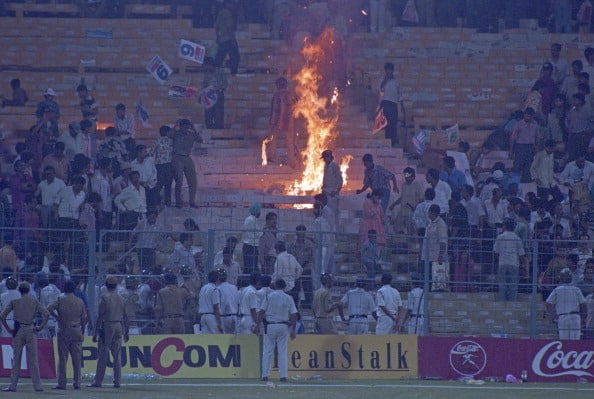 World Cup Semi Final India v Sri Lanka Calcutta 1996 Fire in stands lit by Indian spectators after the match 66627-23 (Photo by Patrick Eagar/Patrick Eagar via Getty Images)
