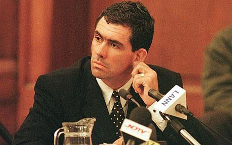 SAFRICA-CRICKET...CPT03 - 20000621 - CAPE TOWN, SOUTH AFRICA : Former South African cricket captain Hansie Cronje tugs his ear during cross-examination at the King Commission of Inquiry into allegations of cricket match-fixing in Cape Town 21 June 2000. EPA PHOTO AFP/ANNA ZIEMINSKI/AZ