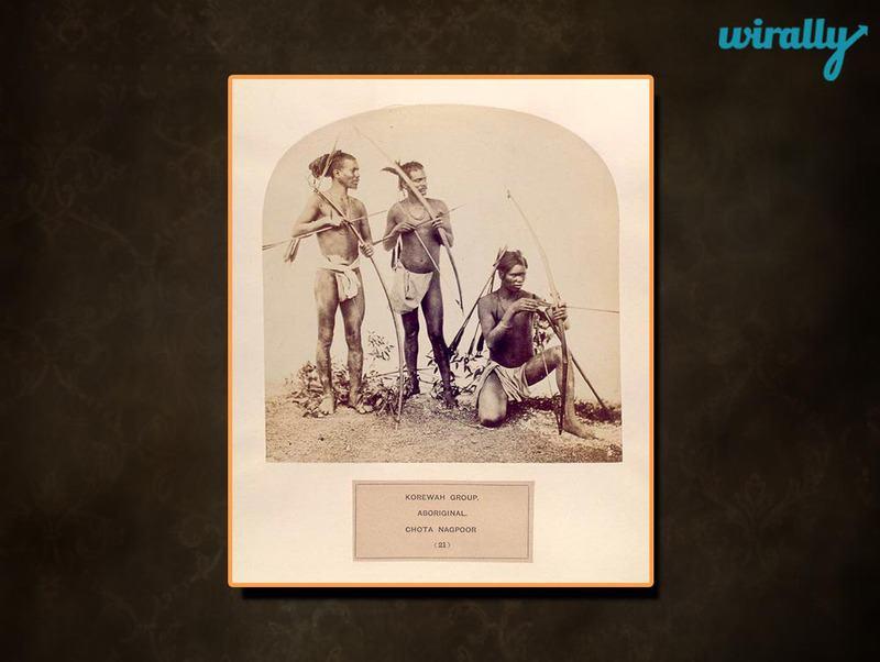 Korewah group, aboriginal, Chota Nagpoor. [Men carrying bows and arrows]
