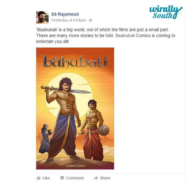 Rajamouli Tweet on Bahubali Comic poster