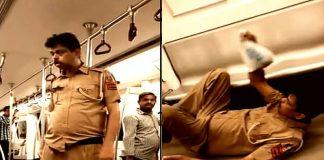 Delhi Police,Delhi Police viral video,Drunk police constable,Cop drunk in metro,Delhi Metro,Drunk Delhi policeman