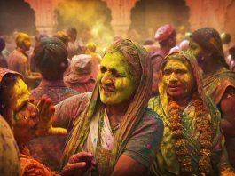 Widows play holi at Gopinath temple in Varanasi