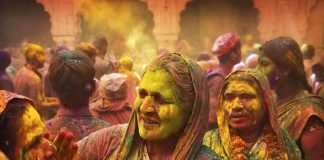Widows play holi at Gopinath temple in Varanasi