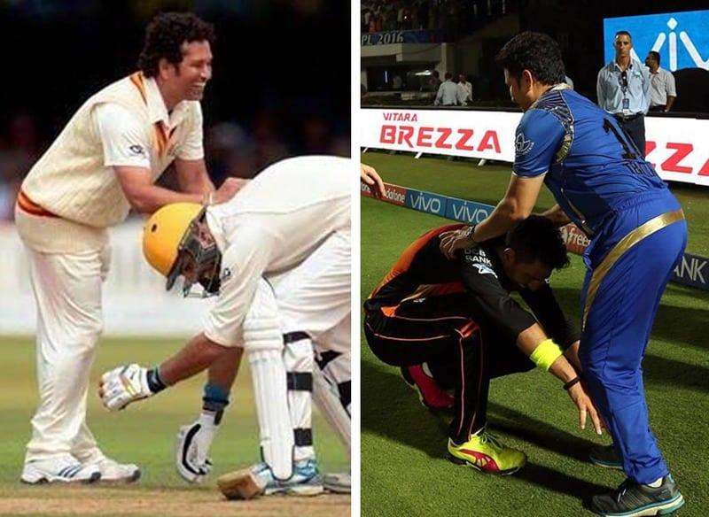 Image result for Yuvraj Has touched Tendulkar feet