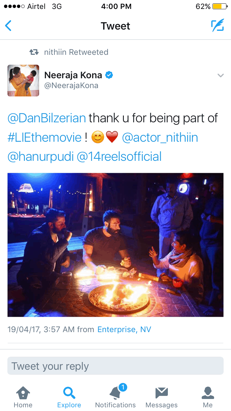 eeraja Kona and Nithiin have tweeted to put this news out 1