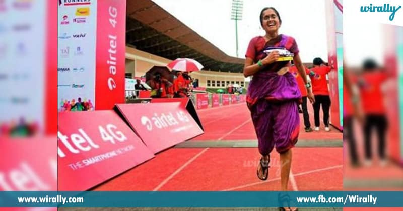 3 She did the entire run in her saree