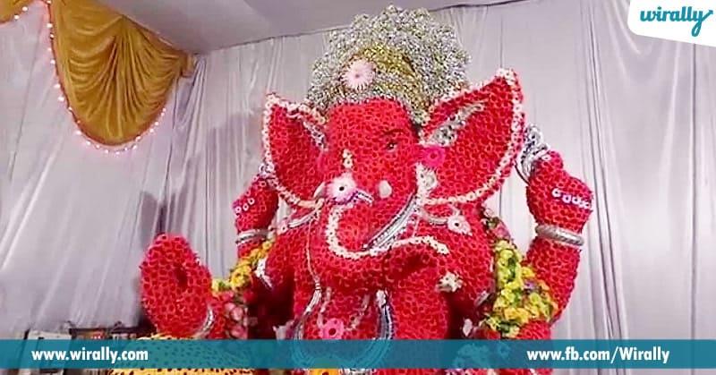 9 ganesha made of flowers