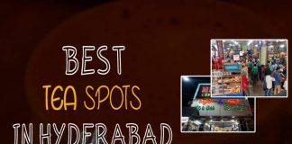 Hyderabad, Chai, Tea, Cafe Niloufer and Bakers, Lamakaan, Rumaan Cafe, Blue sea, Taiba Bakers and Confectioners, Tea Trails, Nimrah Cafe and Bakery, Bombay Bakery, Taj Mahal Hotel, Alpha,