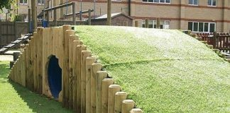 Backyard Playground, Creative Backyard Playground, DIY, Chalkboard walls, Zip line, Backyard tent, Tire Swing, Beach-style fun, Treehouse, Music fence, Climbing wall