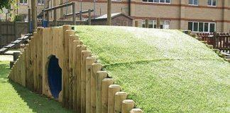 Backyard Playground, Creative Backyard Playground, DIY, Chalkboard walls, Zip line, Backyard tent, Tire Swing, Beach-style fun, Treehouse, Music fence, Climbing wall