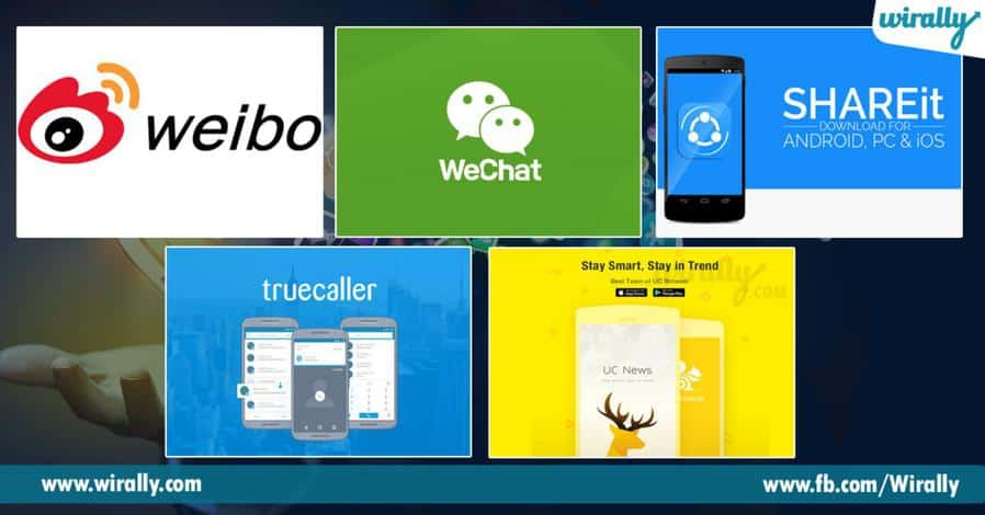 Truecaller, shareIt, uc browser and xiaomi mi apps are