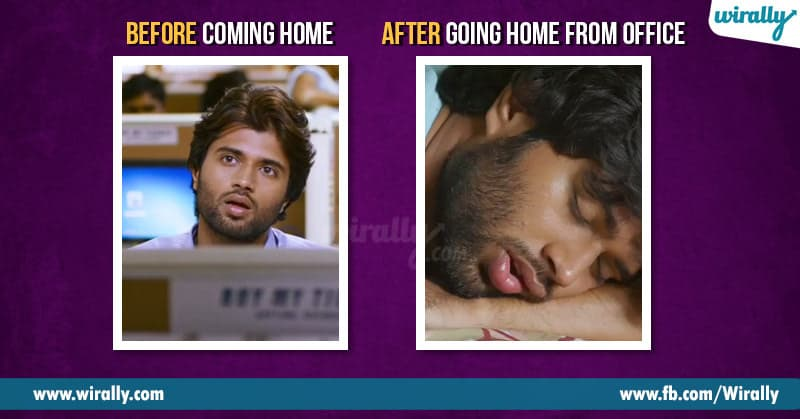 Before coming home after going home from office