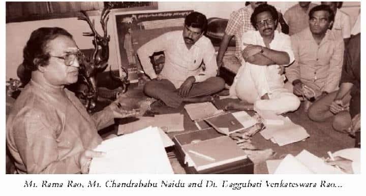 11. NTR with Chandrababu Naidu and Daggubati Venkateswar Rao