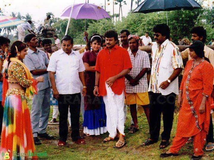 12. With Chiranjeevi, Ramya Krishna and Ramba during shoot