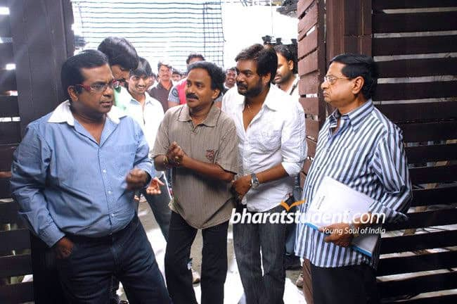 35. with Venu Madhav, Puri, and MS during Nenithe Shoot