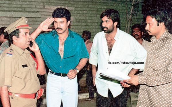 4. Old pic along with Raviteja on sets