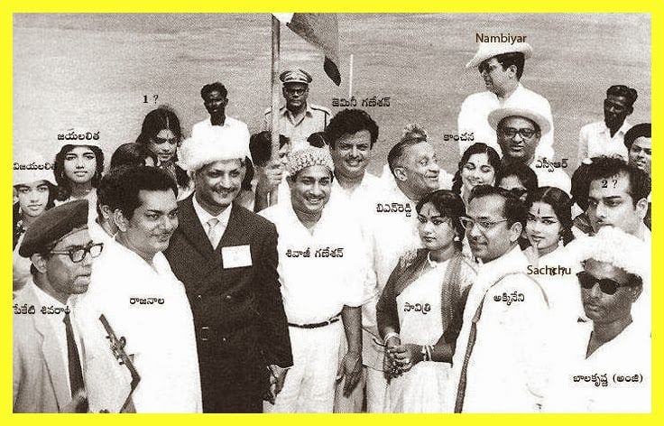 6. All legends in one pic NTR, ANR, Sivaji Ganesan, Gemoni Ganesan, Savitri and others
