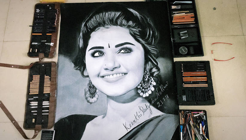 Keerthy Pratyusha Charcoal Paintings