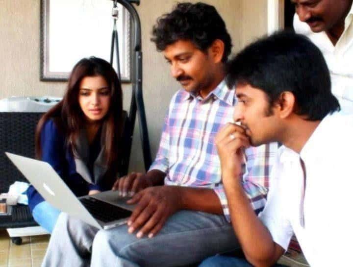 13. Nani with SS Rajamouli and Samantha during Eega shoot