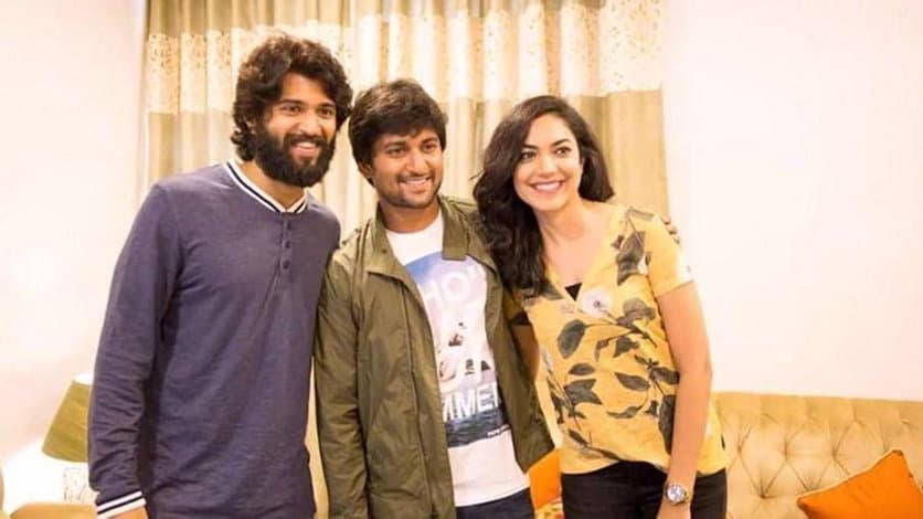 18. Nani with Vijay Deverakonda and Ritu Varma during Yevade Subramnyam time