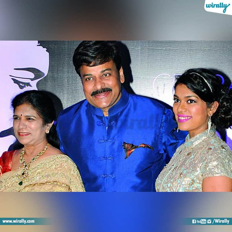 Chiranjeevi and Surekha old pic with their daughter Sreeja