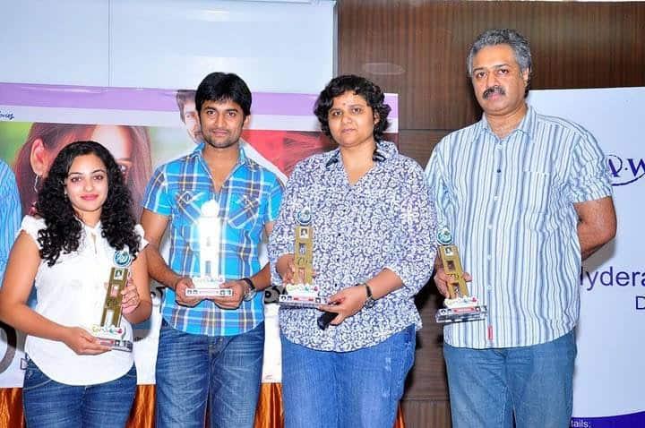 36. Nani with Nithya Menen and Nandini Reddy at Ala Modalindi Success Meet