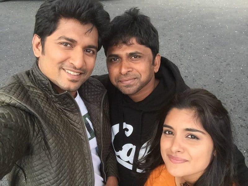 38. Nani with Nivetha Thomas and Shiva Nirvana during Ninnu Kori Shoot