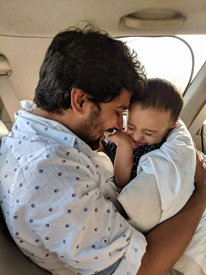 44. Nani with his son Arjun on his 1st birthday anniversary