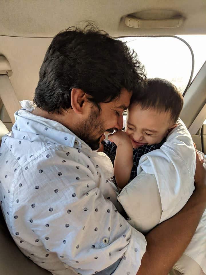 44. Nani with his son Arjun on his 1st birthday anniversary