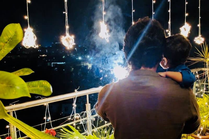 46. Nani celebrating Diwali with Junnu Gadu