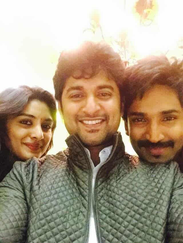 48. Nani with Nivetha Thomas and Aadi Pinishetty during Ninnu Kori Shoot