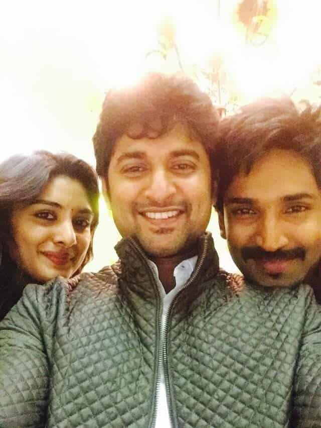 48. Nani with Nivetha Thomas and Aadi Pinishetty during Ninnu Kori Shoot