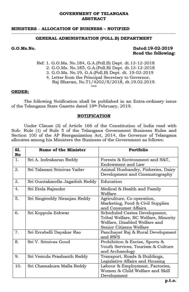 New Ministers of Telangana