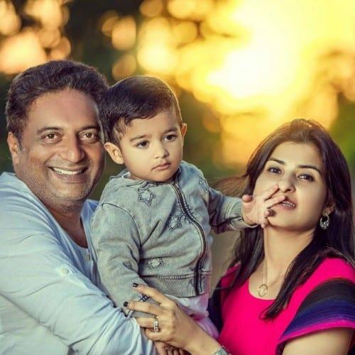 24. Prakash Raj with famil