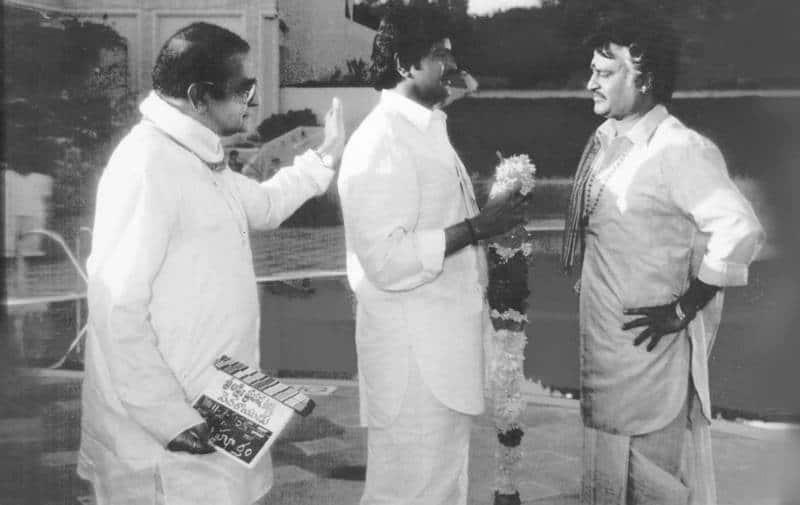 Ntr mohan babu rajnikanth during pedha rayudu shoot