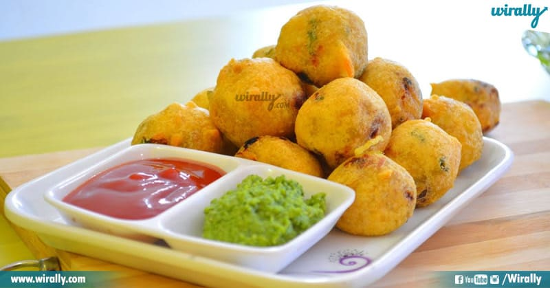 Batata vada in a plate with chetney