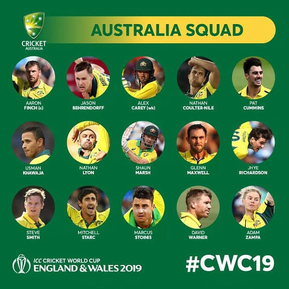 ICC cricket World Cup 2019 full Squads
