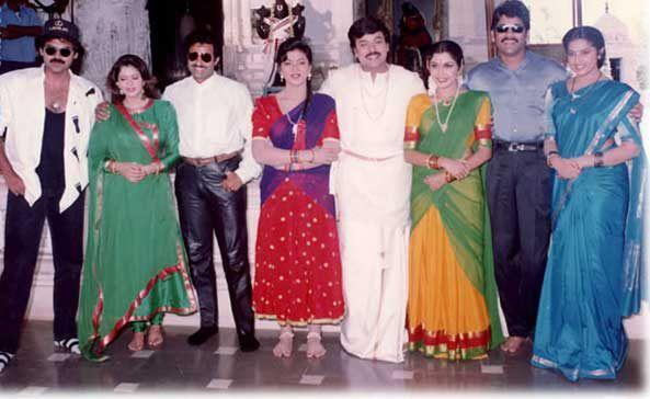 19. Rare pic of BalaKrishna with Venkatesh, Nagma, Chiranjeevi, Ramya Krishna, Meena and Nagarjuna