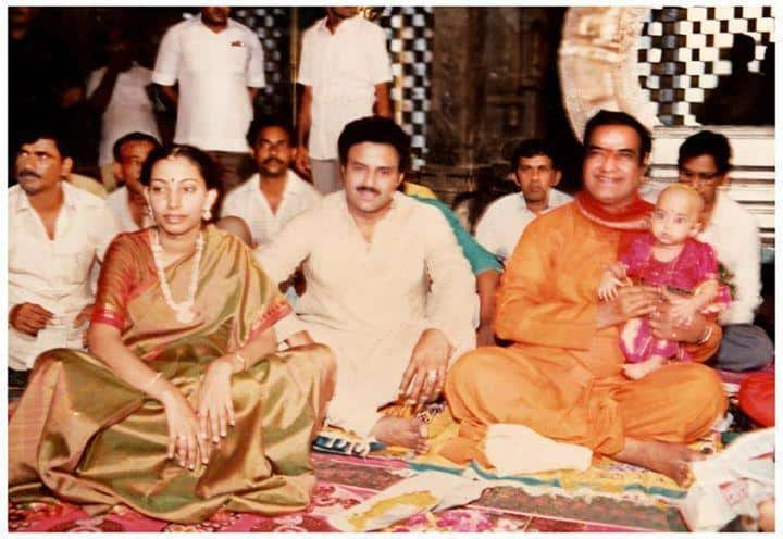 27. Rare pic of BalaKrishna and his wife Vasundhara with Sr NTR