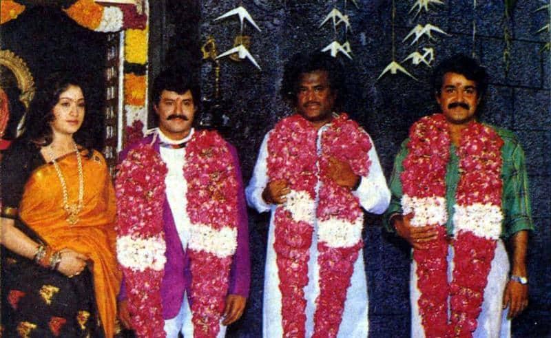 28. Rare pic of BalaKrishna with Vijayashanthi, Rajinikanth and Mohan Lal