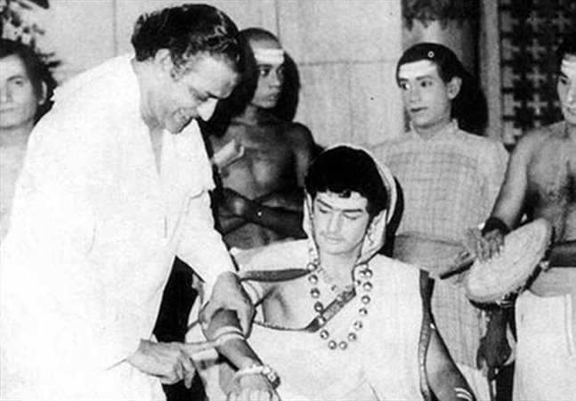 3. Balakrishna rare pic with Sr NTR on movie sets
