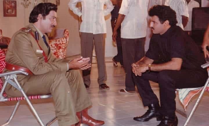 41. Balakrishna rare pic with Shobhan Babu garu on Aswamedham movie sets