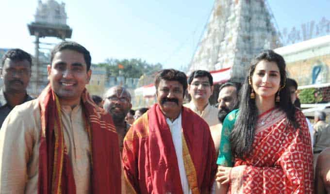 43. Balakrishna with his elder daughter Brahmani and her husband Lokesh at Tirumala