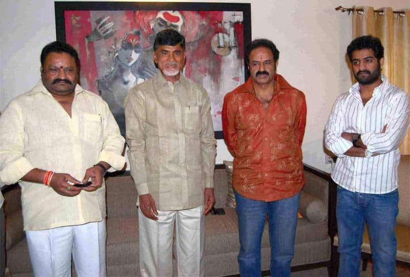 48. Balakrishna rare pic with Harikrishna, Chandrababu Naidu and Jr NTR