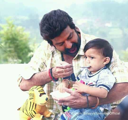 55. Balakrishna is playing with his grand son Nara Devansh during the shooting of Jai Simha