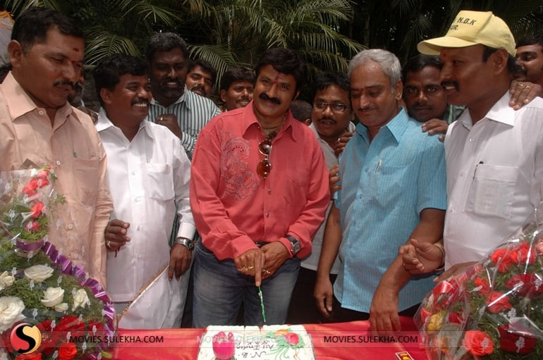 56. Balakrishna celebrating his birthday with fans