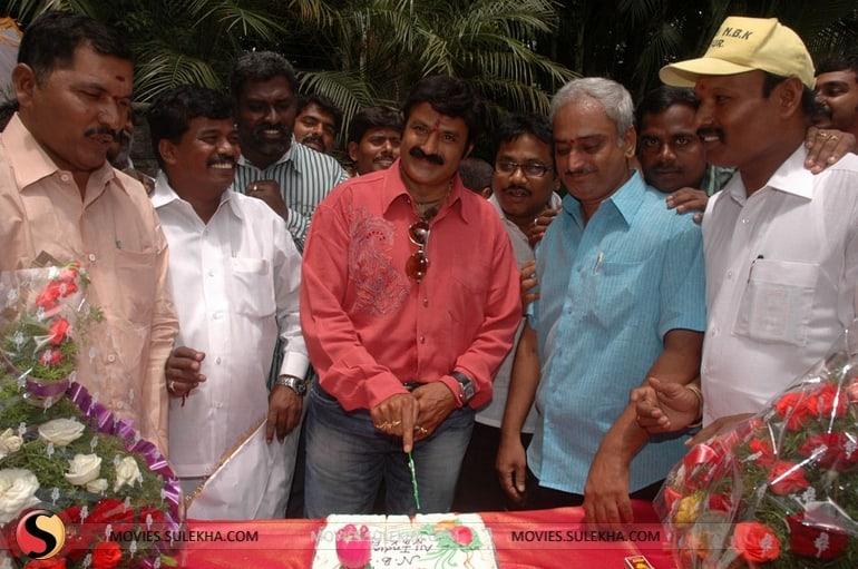 56. Balakrishna celebrating his birthday with fans