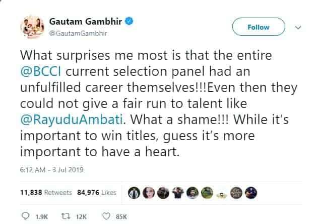 1. Gautham Gambhir