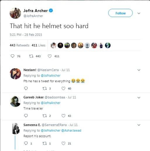 Jofra Archer Tweets